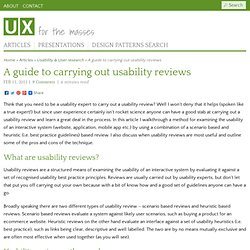 A guide to carrying out usability reviews