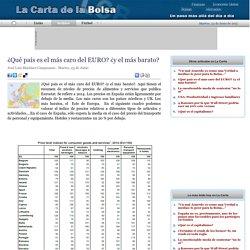 ¿Qué país es el más caro del EURO? ¿y el más barato?