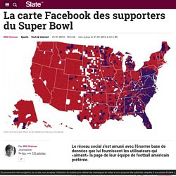 La carte Facebook des supporters du Super Bowl