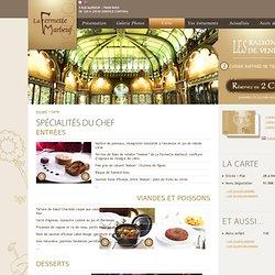Carte et menu, Fermette Marbeuf Paris Alma Marceau