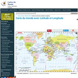 Carte du monde avec Latitude et Longitude