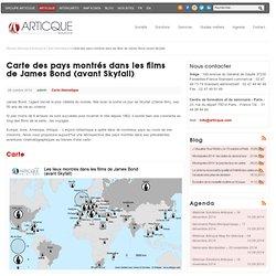 Carte des pays montrés dans les films de James Bond (avant Skyfall) - Articque