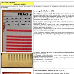 Cartes Perforées, types, exemples