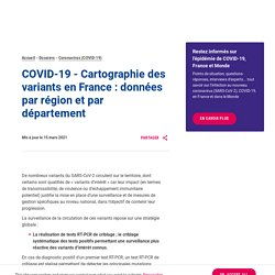 COVID-19 - Cartographie des variants en France : données par région et par département / Santé publique France, mars 2021