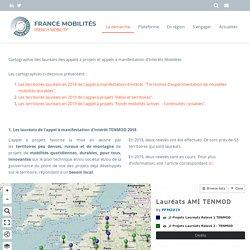 Cartographie des lauréats des appels à projets et appels à manifestation d'intérêts Mobilités