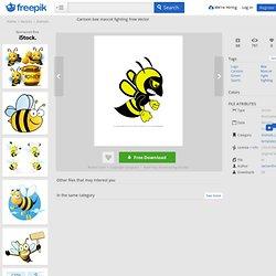 Cartoon bee mascot fighting Vector