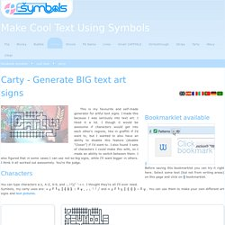 Carty - Generate BIG text art signs - fsymbols