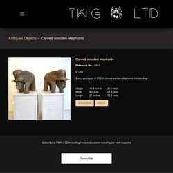 Carved wooden elephants