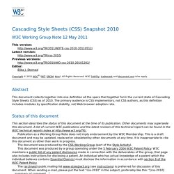 Cascading Style Sheets (CSS) Snapshot 2010