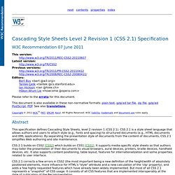Cascading Style Sheets Level 2 Revision 1 (CSS 2.1) Specification