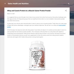 Whey and Casein Protein As a Muscle Gainer Protein Powder