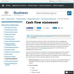 Cash flow statement - Business plan
