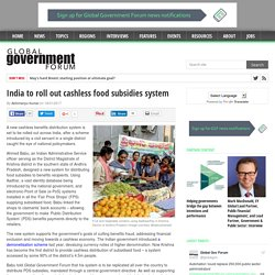 India to roll out cashless food subsidies system