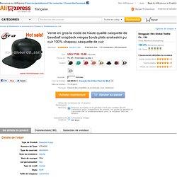 Vente en gros la mode de haute qualité casquette de baseball snapback vierges bords plats snakeskin pu cuir