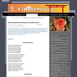 Ode à Cassandre de Ronsard, le poème du 24 - Eclairement