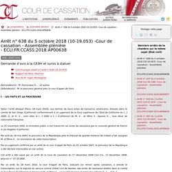 Arrêt n°638 du 5 octobre 2018 (10-19.053) -Cour de cassation - Assemblée plénière - ECLI:FR:CCASS:2018:AP00638