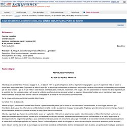 Cour de Cassation, Chambre sociale, du 2 octobre 2001, 99-42.942, Publié au bulletin