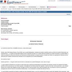 Exercice Cour de cassation, civile, Chambre sociale, 10 juin 2008