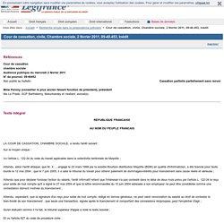 Cour de cassation, civile, Chambre sociale, 2 février 2011, 09-40.453, Inédit