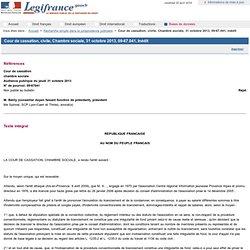 Cour de cassation, civile, Chambre sociale, 31 octobre 2013, 09-67.041, Inédit
