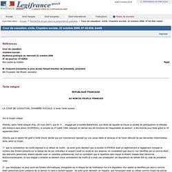 Cour de cassation, civile, Chambre sociale, 22 octobre 2008, 07-42.654, Inédit
