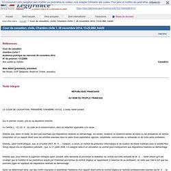 Cour de cassation, civile, Chambre civile 1, 26 novembre 2014, 13-22.060, Inédit