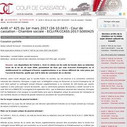 Arrêt n°425 du 1er mars 2017 (16-10.047) - Cour de cassation - Chambre sociale - ECLI:FR:CCASS:2017:SO00425