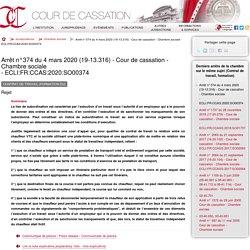 Arrêt n°374 du 4 mars 2020 (19-13.316) - Cour de cassation - Chambre sociale - ECLI:FR:CCAS:2020:SO00374