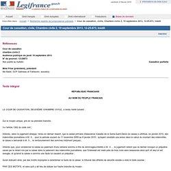 Cour de cassation, civile, Chambre civile 2, 19 septembre 2013, 12-25.673, Inédit
