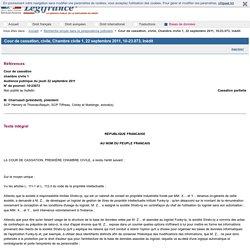 Cour de cassation, civile, Chambre civile 1, 22 septembre 2011, 10-23.073, Inédit