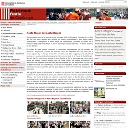 Festa Major de Castellterçol / Festes Majors / Festes i elements festius catalogats o declarats / Inici - Patrimoni festiu - Generalitat de Catalunya