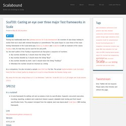 ScaTDD: Casting an eye over three major Test frameworks in Scala