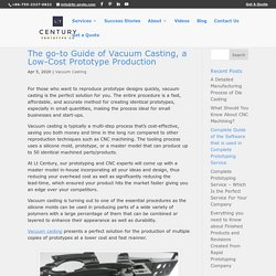 The go-to Guide of Vacuum Casting, a Low-Cost Prototype Production