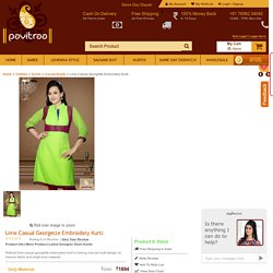 Lime Casual Georgette Embroidery Kurti