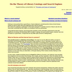 On the Theory of Library Catalogs and Search Engines / Eversberg, Bernhard