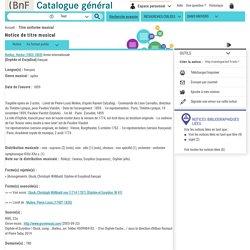 BnF Catalogue général - Bibliothèque nationale de France