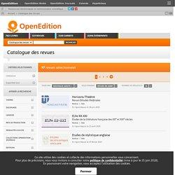 Catalogue des revues littéraires en ligne