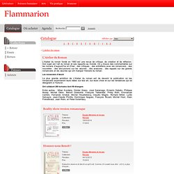 Catalogue - L'atelier du roman - Flammarion editions