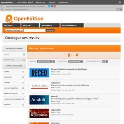 Catalogue des revues TRAITANT d'HISTOIRE