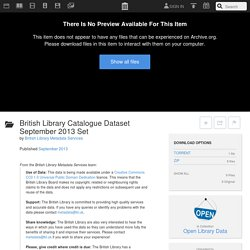 British Library Catalogue Dataset September 2013 Set : British Library Metadata Services