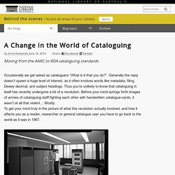 A Change in the World of Cataloguing blog