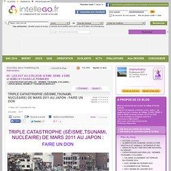 TRIPLE CATASTROPHE (SÉISME,TSUNAMI, NUCLÉAIRE) DE MARS 2011 AU JAPON : FAIRE UN DON
