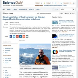 Catastrophic failure of South American Ice Age dam changed Pacific Ocean circulation and climate
