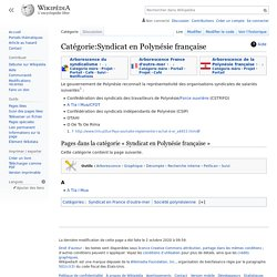 Catégorie:Syndicat en Polynésie française