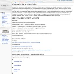 Catégorie:Vocabulaire latin - Wiki SILLAGES
