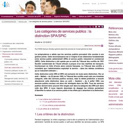 Les catégories de services publics : la distinction SPA/SPIC. Samuel Dyens. CNFPT. wikiterritorial.cnfpt.fr