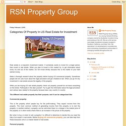 The Main categories of Property In US Real Estate for Investments - RSN Property Group