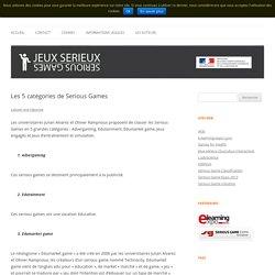 Les 5 catégories de Serious Games
