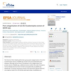 EFSA 28/06/19 Pest categorisation of non‐EU Cicadomorpha vectors of Xylella spp.