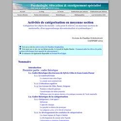 Activités de catégorisation en moyenne section (Claudine Ourghanlian)